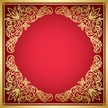 Decorative red card with golden frame Stock Photography