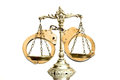 Decorative scales of justice and handcuffs on white background Stock Image