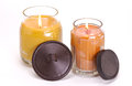 Decorative scented candles assortment of shot on a white background Stock Image