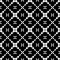 Decorative Seamless Floral Geometric Black & White Pattern Background Royalty Free Stock Photo