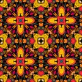 Decorative seamless pattern. Bright ethnic ornament. Multicolor geometric flowers. Tribal vector illustration. Royalty Free Stock Photo