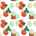 Decorative seamless pattern of cucumber and tomato slices decorated with basil Stock Images