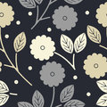 Decorative seamless pattern with flowers and leaves