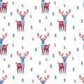 Decorative seamless pattern with deer