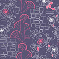 Decorative seamless roses pattern Stock Photography