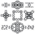Decorative set cross IV b&w Royalty Free Stock Image