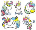 Decorative Set of Cute Cartoon Unicorns