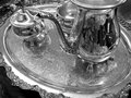 Decorative silver service tray elegant with engravings Royalty Free Stock Photos