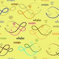 Simple seamless with repeated lines, dots, dotted lines , outline whale elements and ocean letters on a light background