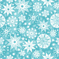 Decorative snowflake frost seamless pattern vector background with drawn snowflakes on light blue background Stock Image