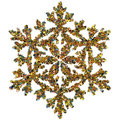 Decorative snowflake made of small stars confetti colored foil isolated on white background Royalty Free Stock Photography