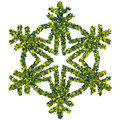 Decorative snowflake made of stars confetti colored foil isolated on white background Stock Photography