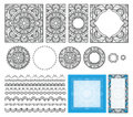 Decorative square pattern. Set frames, brushes, templates for design. Ethnic ornament, mandala for coloring book, cards.