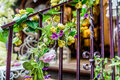 Decorative stair rail with coloful flowers on it Royalty Free Stock Images