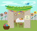 Decorative sukkah vector illustration of with decoration and holiday symbols eps Royalty Free Stock Images