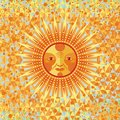 Decorative summer sun on geometric background Royalty Free Stock Photography