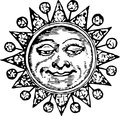 Decorative sun Stock Image