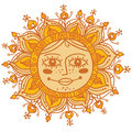 Decorative sun with human face hand drawn illustration of the highly rays and a smiling bright and colorful drawing of a celestial Stock Image