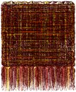Decorative tapestry with grunge striped wavy pattern and long fluffy fringe in brown, yellow,orange colors