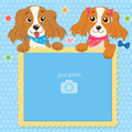 Decorative Template For Baby, Family Or Memories. Two Shaggy Dogs With Vector Photo Frame. Children`S Photo Framework. Royalty Free Stock Photo