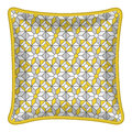 Decorative throw pillow grey and yellow pattern patterned pillowcase isolated on white vector illustration cushion with abstract Stock Photography