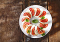 Decorative tomato and cheese salad Stock Photography