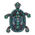 Decorative turtle fancy patterned in stained glass style trendy vintage colors object isolated on white background vector file is Royalty Free Stock Images