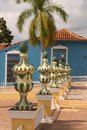 Decorative urns colonial in the main public square plaza mayor in trinidad cuba Stock Images