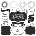 Decorative vector templates and elements for design of logos Royalty Free Stock Photo