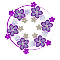 Decorative violet border with flowers. composition on lilac background. Vector Royalty Free Stock Photo