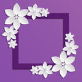 Decorative violet papercut border with white paper flowers d composition on lilac background vector eps Royalty Free Stock Photo