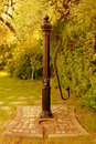 Decorative water pump surrounded by greenery. Royalty Free Stock Photo