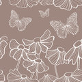 Decorative white flowers and butterfly seamless Royalty Free Stock Photo