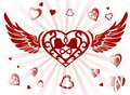 Decorative wings and heart set of hearts on white Royalty Free Stock Photography