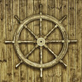 Decorative wooden ships wheel Stock Images