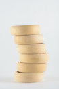 Decorative wooden toys close up on a monophonic background Royalty Free Stock Photo
