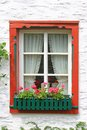 Decorative wooden window with floral decorations in monreal eifel rhineland palatinate germany Stock Photography