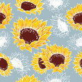 Decorative yellow sunflowers flowers Royalty Free Stock Photo