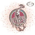 Decorative Zodiac sign Cancer Royalty Free Stock Photo