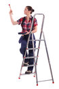 Decorator climbing a ladder female Royalty Free Stock Photo
