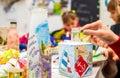 Decoupage bottle professional painter paints a souvenir Stock Image