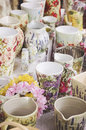 Decoupage pottery technique handcrafted mugs and vases Royalty Free Stock Photo