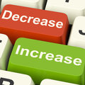 Decrease Increase Keys Shows Decreasing Or Increasing Royalty Free Stock Photos