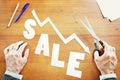 Decrease of sales abstract conceptual image Royalty Free Stock Photo