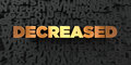 Decreased - Gold text on black background - 3D rendered royalty free stock picture Royalty Free Stock Photo