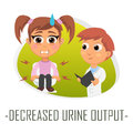 Decreased urine output medical concept. Vector illustration.