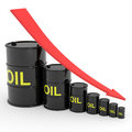Decreasing oil barrels graph. Stock Image
