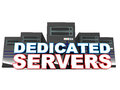 Dedicated servers lined up with words in foreground concept of premium hosting service Stock Image