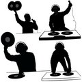 Deejay silhouettes Royalty Free Stock Images
