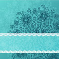 Deep blue  doodle flowers background Royalty Free Stock Images